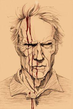 Clint Eastwood by Freaky-Vitta on DeviantArt 3d Pencil Drawings, Dark Art Drawings, Art Drawings Sketches, Clint Eastwood, Dibujos Dark, Cat Anatomy, Satanic Art, Marvel Comics Art, Portrait Sketches