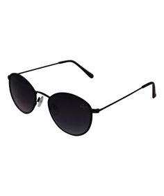 Black Fabric-Wrapped Round Sunglasses