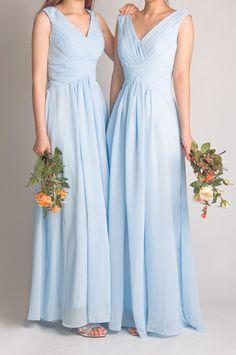 trendy v-neck long chiffon sky blue bridesmaid dresses 2015