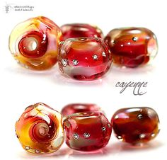 DAILY DEAL  Glass lampwork beads Cayenne petite by radiantmind, $10.00