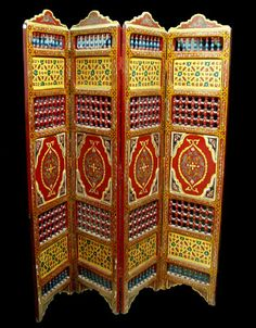 Beautifully detailed hand painted Moroccan divider/privacy screen {imported}