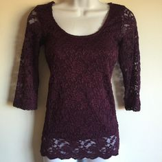 NWT eggplant color lace top with scalloped hem. Front is fully lined. Firm unless bundled. Rue 21 Tops Blouses
