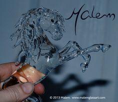 PRE Stallion glass sculpture Unique piece Flameworked by Malem Sculptures, Lion Sculpture, Equine Art, Glass Jewelry, Glass Art, Creatures, Horses, Statue, Artist