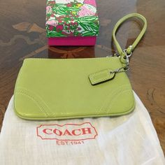 Coach Wristlet - green leather Beautiful Green leather Coach Wristlet with silver hardware. 4 inches x 6.5 inches Great Condition! Coach Bags Clutches & Wristlets