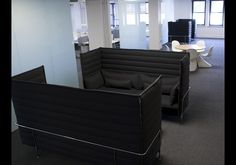 These two alcove sofas create a conference room-like environment at Global Prairie, a marketing and communications firm in Kansas City. Office Sofa, Office Lounge, Open Office, Charming House, Design Department, Elegant Homes, Alcove, Sofas, Conference Room