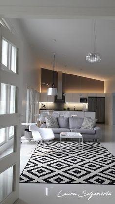 Modern/Livingroom/Valkoinen olohuone/ Avara olohuone/ White/Läppljung/Vitra/Hay/Skandinavisk/Modern/Livingroom/White/Skandinavisk/Nordichome/Uunisepät/Ikea/Artek/ Artek-kanto/Shorebird/Kuta-valaisin/ Kuta/ BoConcept/Normann Copenhagen/ AMP/ Frandsen Villa, Kuta, Boconcept, Urban Design, Home Kitchens, Copenhagen, Ceiling Lights, Lighting, Interior