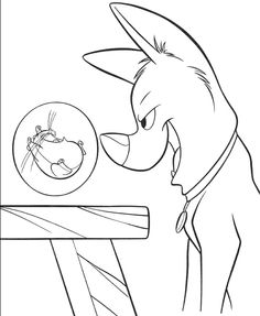 bolt scare mouse coloring page