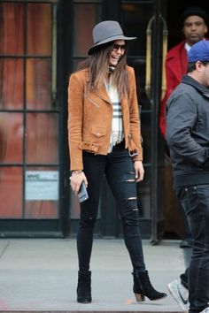 I love this street style I am not sold on the color of the jacket though. Nina Dobrev is a huge style inspiration for me.