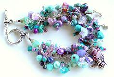 cha cha bracelet. when purple met teal bracelet. by UniqueNecks