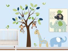 Baby Boys Vinyl Wall Decals Tree With Safari By Nurserywallart 99 Nursery