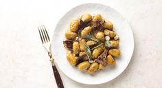 Hazelnut Sweet Potato Gnocchi with Brown Butter, Chanterelle Mushrooms, and Sage