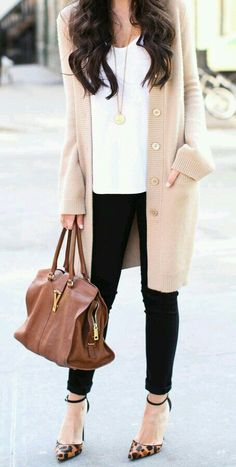 Fall Smart/Casual    black pants white top cream cardi cheetah flats africa necklace gold studs