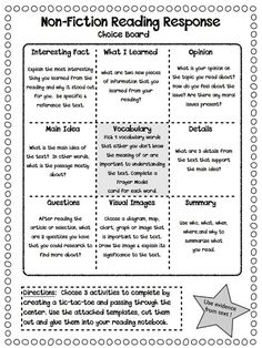 Cool idea for independent reading accountability. Maybe also do with comprehension strategies/text structures/narrative text elements.