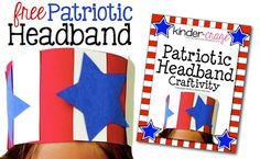 FREE patriotic headband template from Kinder-Craze. Perfect for President's Day!