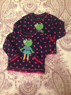 Carter's 2t long sleeve tee shirt. Navy with pink polka dots and frog appliqué.  $2.50 Each