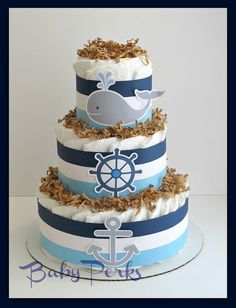 Nautical Diaper Cake Nautical Baby Shower  Sailboat by MsPerks, $49.99