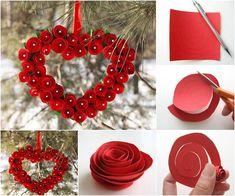 Creative Ideas - DIY Heart Shaped Paper Rose Valentine Wreath