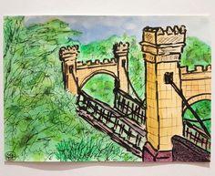"Ink and watercolour illustration ""Hampden Bridge"" by Raj Panda (2016)"