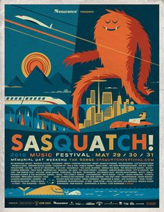 Sasquatch! Music Festival 2010 by Invisible Creature  fenfest poster inspiration/muse #cufenestra