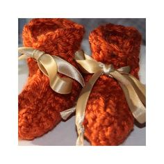 Orange Fall Preemie Baby Booties - Crocheted Baby Booties - Baby Gift (15.00 USD) by ImagineThatBaby