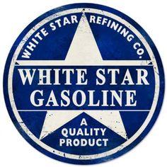 Amazon.com: White Star Gasoline Automotive Round Metal Sign - Victory Vintage Signs: Home & Kitchen