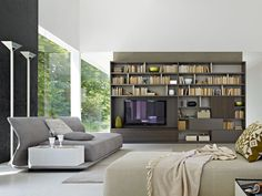 Molteni&C 505 - 2011 edition Bookshelves With Tv, Bookcase, Storage Shelves, Shelving, Ideas Prácticas, Modern Mansion, Living Spaces, Living Room, Furniture Companies