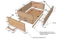 столик из поддонов с выдвижными ящиками
