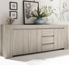 Enfilade moderne couleur bois gris PLUMA 2