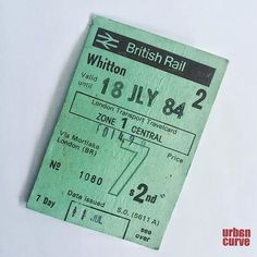 British Rail Weekly Ticket - found in one of my books I must have read on my commute into London when  I worked as an Art Director in advertising agencies. Nearly 32  years ago! #commuting #rail #railtravel #railticket #ticket #ticket2ride #trains #britishrail #vintage #past #bygone #br #london #urbancurve