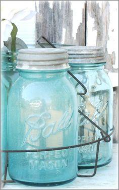 Vintage Turquoise canning jars