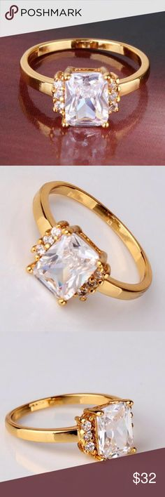 24k yellow gold filled ring Gem Type:white sapphire Gem Size:6mm*8mm Gem Quantity:7 Gem Cut:Radiant Gem Color:White  Metal Type:24k yellow gold filled Total Weight:2.0 grams Jewelry Rings
