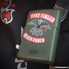 Five Finger Death Punch design on Green Matte Zippo lighter. Sold exclusively at the Rockstar Energy Drink Mayhem Festival!