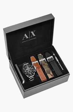 Hope dad likes this Armani interchangeable strap watch set for Father's Day!
