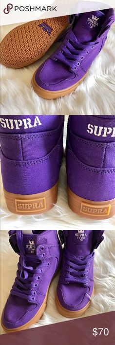 Supra Vaider High-Top Sneaker Supra Vaider High Top Sneaker Purple -Gum stylish Women's designed high top upper on a vulcanized sole that supplied excellent traction and board fell brand new never worn Supra Shoes Sneakers