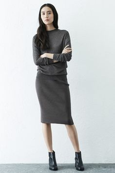 Grey ribbed skirt