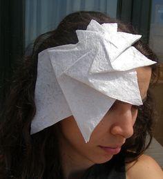 Free Shipping -Headband white origami spiral pleated hat -OOAK- Ready to ship-. $65.00, via Etsy.