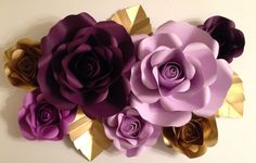 7 piece paper flower backdrop - roses, weddings, baby shower, nursery by PaperPetalsByJasmine on Etsy