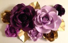 7 piece paper flower backdrop - roses, weddings, baby shower, nursery by PaperPetalsByJasmine on Etsy