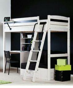 White STORA loft bed from IKEA.  Notice how desk is arranged under it.