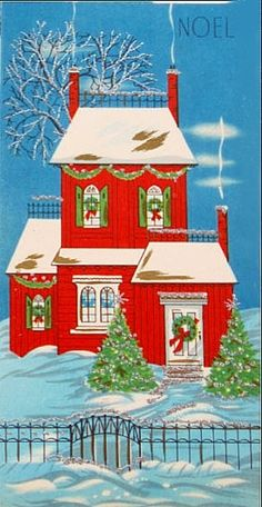 Pretty Victorian cottage at Christmas.