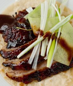 Marcus Wareing's braised and roasted whole duck recipe is accompanied by fresh spring onions, cucumber and Chinese pancakes. You could also serve this lovely Gressingham duck in a warm salad with cashew nuts, spinach and noodles. Braised and roaste Chinese Chicken Wings, Chinese Cabbage, Chinese Food, Chinese Recipes, Whole Duck Recipes, Roasted Duck Recipes, Braised Duck, Almond Chicken, Chinese Vegetables