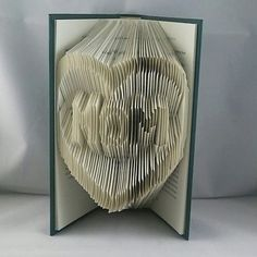 MOM in a Heart Outline Book Art. Folded Book Origami by Recycled Jude on Etsy.