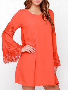 Orange Long Sleeve With Lace Dress 17.99