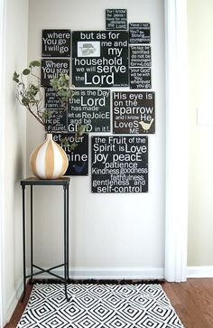 Love this quotes wall - what a fantastic way to memorize scripture! (Could be done by painting with chalkboard paint and changing the verses once a month.)