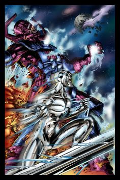 Silver Surfer, and Galactus, art by Jonathan Lau - alternate colouring Comic Book Characters, Marvel Characters, Comic Character, Comic Books Art, Comic Art, Punisher Marvel, Hulk Marvel, Captain Marvel, Galactus Marvel