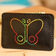 Etsy の Butterfly Leather Slim WalletLeather Card Holder by bugga Leather Bag Tutorial, Leather Wallet Pattern, Small Leather Wallet, Leather Keychain, Leather Wallets, Leather Diy Crafts, Leather Gifts, Handmade Leather, Leather Bags