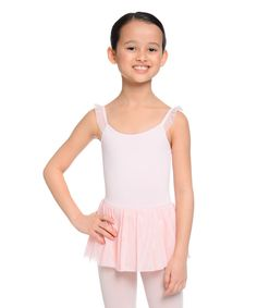 Light Pink Ruffle-Sleeve Skirted Leotard - Girls