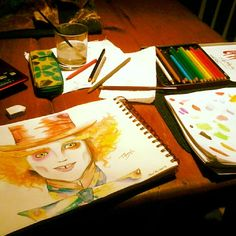The Mad Hatter in watercolor by Tiffany (me!)