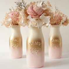 Pink and Gold Baby Shower Decor Centerpiece Girl Painted Milk Bottles Party Decor Blush Gold Pink Ombre Vase Wedding Reception Centerpieces, Gold Wedding Decorations, Baby Shower Centerpieces, Centerpiece Decorations, Baby Shower Decorations, Wedding Ideas, Rose Gold Centerpiece, Pink Decorations, Gold Centerpieces