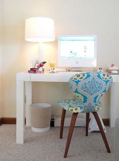white desk & patterned chair